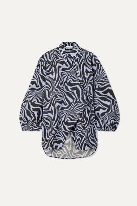 Ganni Tiger-print Cotton-poplin Wrap Blouse - Blue