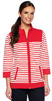 Denim & Co. Active French Terry Zip Front Striped Jacket