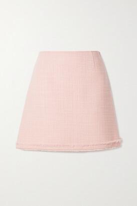 TORY BURCH - Frayed Wool-blend Tweed Mini Skirt - Pink