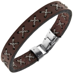 Sutton by Rhona Sutton Sutton Stainless Steel Crossed Chain Brown Leather Bracelet