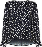Phase Eight Marilyn Spot Cutwork Blouse, Navy/Ivory