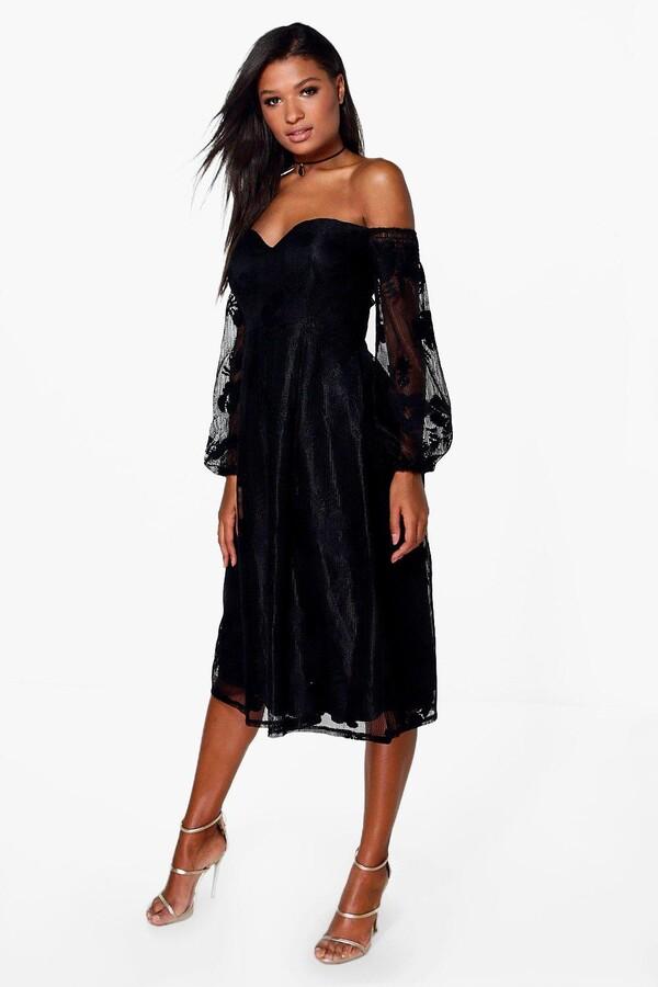 boohoo Boutique Le Lace Bardot Long Sleeved Dress black