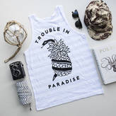 Art Disco 'Trouble In Paradise' Snake And Pineapple Striped Vest