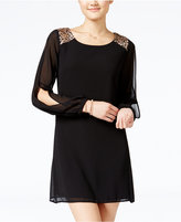 Sequin Hearts Juniors' Sequined Split-Sleeve Shift Dress