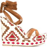 Gianvito Rossi 'Cheyenne' wedge sandals - women - Cotton/Leather/Suede - 37.5