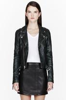 BLK DNM Deep Green buffed leather beaded biker jacket