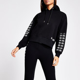 River Island Black RR embellished cropped hoodie