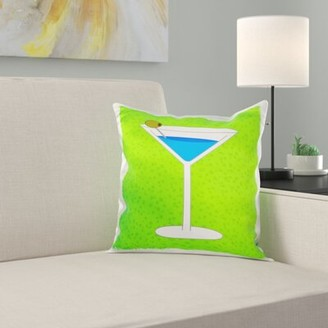 East Urban Home Martini in Glass with Olive Pillow Cover Color: Green