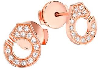 Dinh Van Menottes Diamond 18K Rose Gold Stud Earrings