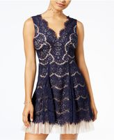 Trixxi Juniors' Scalloped Lace Fit and Flare Dress
