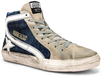 Golden Goose Slide Sneaker in Blue Denim & White Star | FWRD