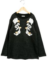 Dolce & Gabbana Girls' Floral Leather-Adorned Sweatshirt w/ Tags
