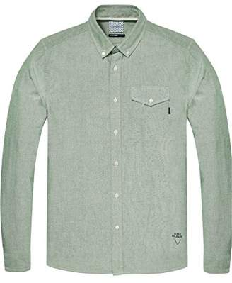 Scotch & Soda Men's AMS Blauw Regular Fit 1 Pocket Classic Oxford Shirt Casual Shirt, Green (Alpine 2121), X-Large