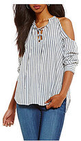 William Rast Cyrus Striped Lace-Up Cold-Shoulder Top