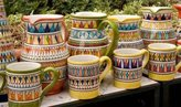 Canvas Art USA Italy, Positano Ceramic pitchers and mugs by Wendy Kaveney - Giclee Canvas Art Print