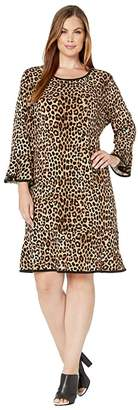 MICHAEL Michael Kors Plus Size Mega Cheetah Flounce Dress (Dark Camel) Women's Clothing