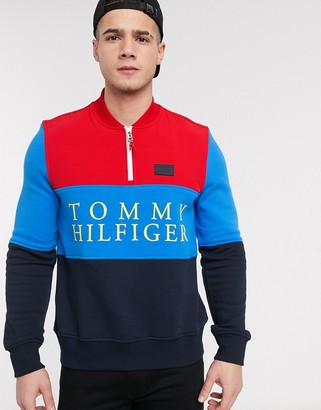 Tommy Hilfiger grayson baseball mock neck zip sweater in navy/red