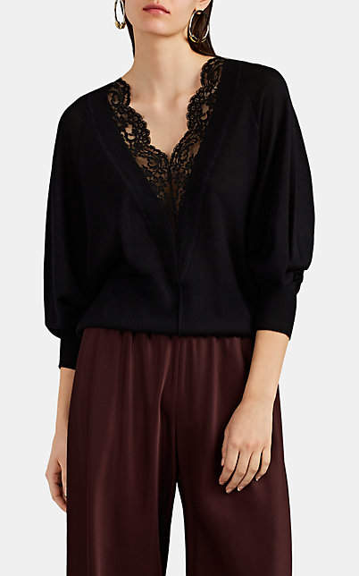 Chloé Women's Lace-Inset Wool-Silk V-Neck Sweater - Black