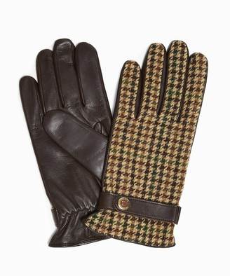 Dents Gloves Dents Abraham Moon Dogtooth Tweed Gloves in Brown