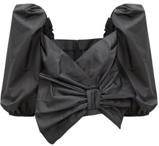RED Valentino Exaggerated-bow Moire Blouse - Black