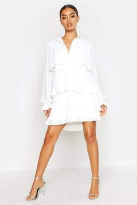 boohoo Pleated Shirt Style Smock Dress