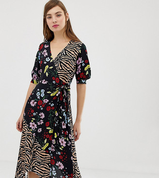 Reclaimed Vintage inspired wrap midaxi dress in mix floral tiger print-Multi