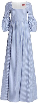 STAUD Plumeria Stripe Bell-Sleeve A-Line Maxi Dress