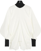 J.W.Anderson Draped Ribbed Knit-trimmed Crepe Turtleneck Top - White