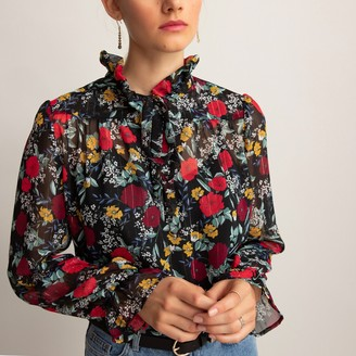 La Redoute Collections Pussy Bow Blouse with High-Neck in Floral Print