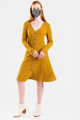 francesca's Harlow Ribbed Button Down Dress - Olive