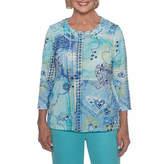 Alfred Dunner Bonita Springs 3/4 Sleeve Scoop Neck T-Shirt-Womens