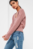 Missguided Pink Cropped Tennis Sweater