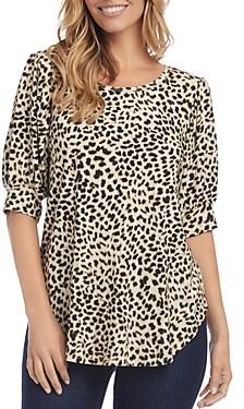 Karen Kane Printed Shirred-Sleeve Shirt