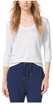 Michael Kors Scoop-Neck Linen Top