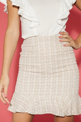 Paper Dolls Malta Blush Boucle Peplum Mini Skirt Co-ord