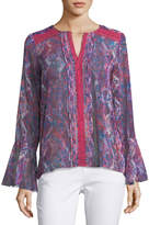 T Tahari Graphic-Print Split-Neck Blouse