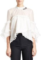 Erdem Ruffled Crystal 3/4-Sleeve Blouse, White