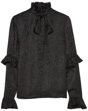 Saint Laurent Pussy-bow Ruffled Silk-satin Jacquard Blouse
