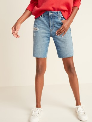 Old Navy Mid-Rise Distressed Bermuda Jean Shorts for Women -- 9-inch inseam