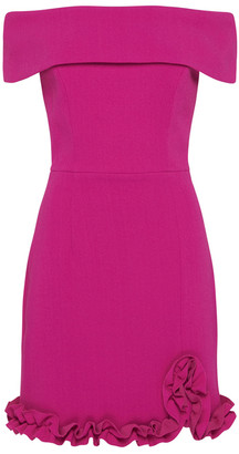 Rebecca Vallance Amina Ruffled Ponte Off-The-Shoulder Mini Dress