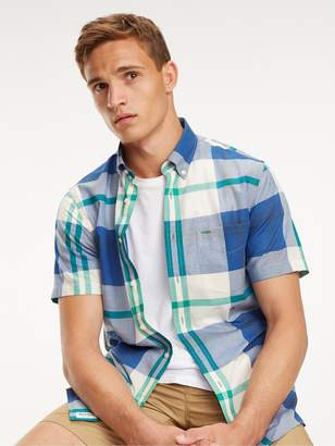 Tommy Hilfiger Blown Up Madras Check Short Sleeved Shirt - White/Blue/Green