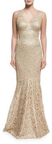 David Meister Embroidered Sleeveless V-Neck Mermaid Gown, Gold