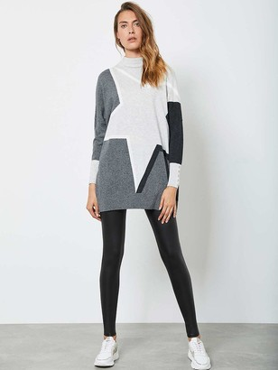 Mint Velvet Blocked Star Batwing Tunic - Grey