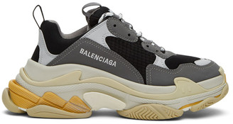 Balenciaga Grey and Black Triple S Sneakers