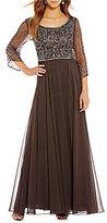 J Kara Scoop Neck 3/4 Sleeve Beaded Gown