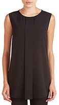 Peter Nygard Stretch Crepe Georgette Pleat Front Tank