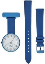 Bermuda Watch Company Annie Apple Empress Interchangeable Silver - Blue Leather Wrist To Nurse Watch