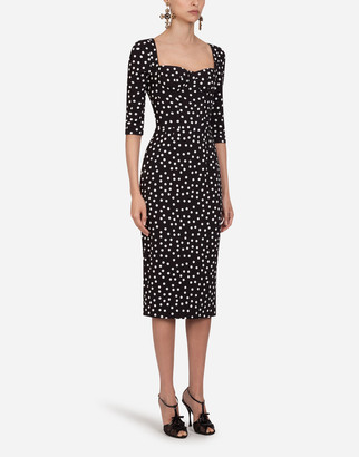 Dolce & Gabbana Cady Fabric Small Polka-Dot Print Longuette Dress