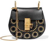 Chloé Drew Mini Studded Leather And Suede Shoulder Bag - Black
