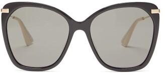 Gucci Oversized Round Acetate Sunglasses - Womens - Black Grey